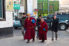 Buddhist monks in downtown Ulaanbaatar, Mongolia.