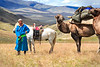 Our most colourful camelier with his horse and one of his camels.