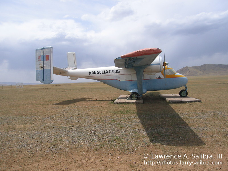 A junked military aircraft in training grounds outside of Ulanbaatar.