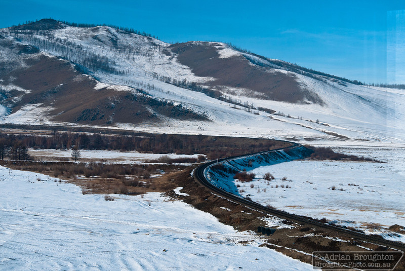 Scenery in Mongolia from the Trans-Siberian railway, between Beijing and Ulaanbaatar.