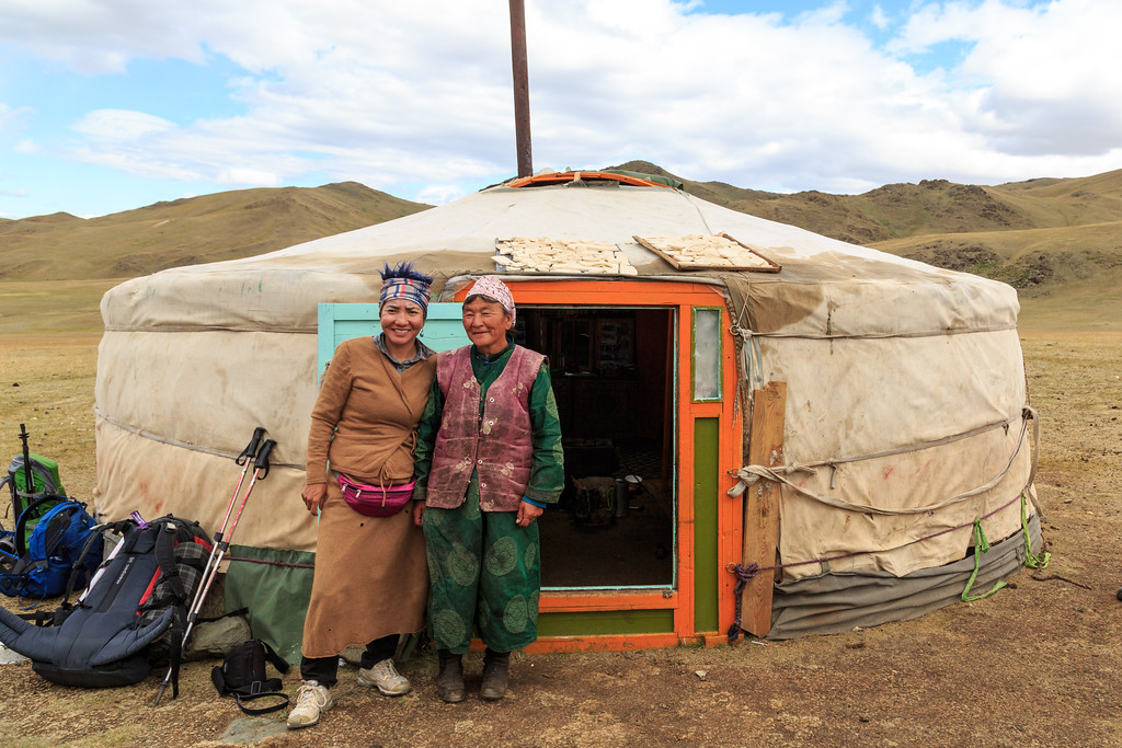 Tseren in a farewell photo with our first nomad host.