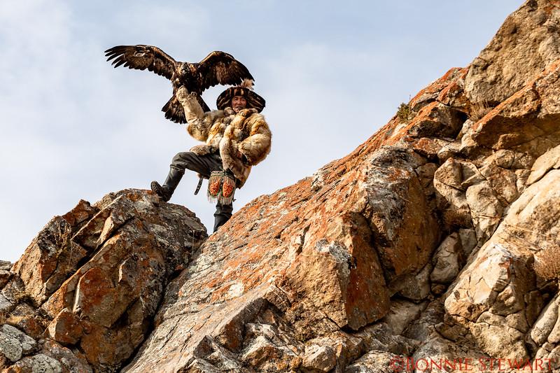 Mr. Ardak - Eagle hunter preparing to let his Eagle fly