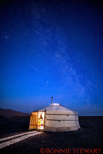 Mongolian Gher in the Gobi with the Milky Way and shooting stars