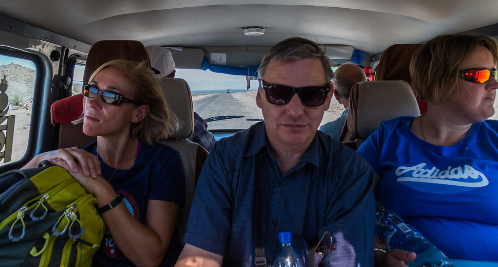"""Andrew, Liesl and Kristy on the road from Khovd in the Russian van, which inevitably was referred to as """"The Russian Love Bug"""""""