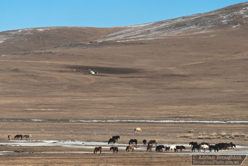 A remote Ger camp in Mongolia as seen from the Trans-Siberian railway, between Beijing and Ulaanbaatar.