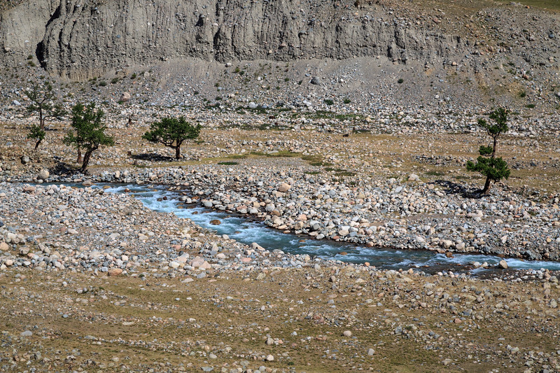 The glacial river we camped next to - cold, blue and surrounded by lots of large rounded rocks