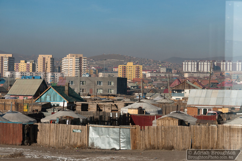 Ger camps in the suburbs of Ulaanbaatar as seen from the Trans-Siberian railway.