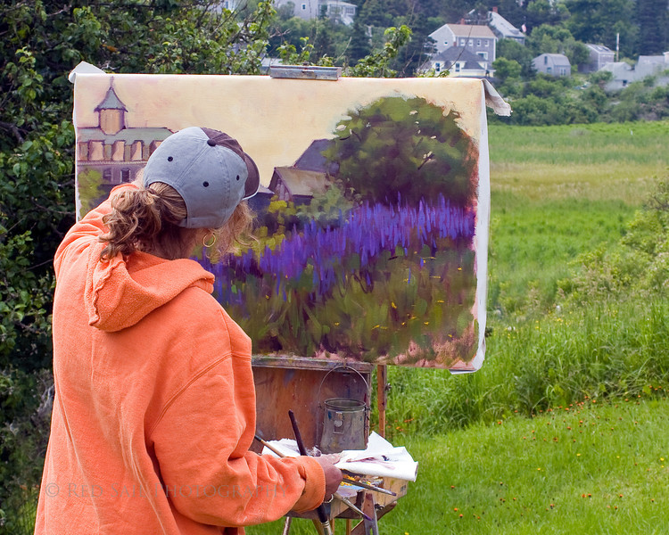 This artist is capturing the beautiful Lupine flowers with the Island Inn in the background. Monhegan Island is an artist's paradise.