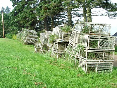 Old wooden lobster traps - no longer used