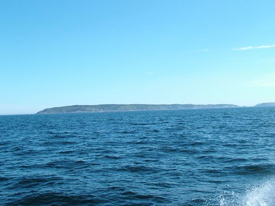 Monhegan Island from about 4 miles away.  Many say the island looks like a whale from afar.