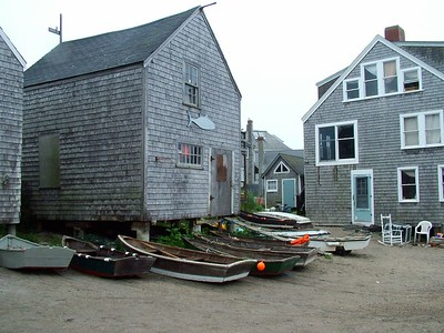 Fish Beach with skiffs used to go out to lobster boats in the harbor