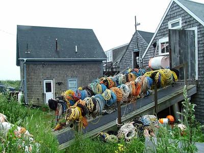 Fish houses near Fish Beach where lobstermen keep their gear