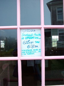 Sign in door at Carina House.