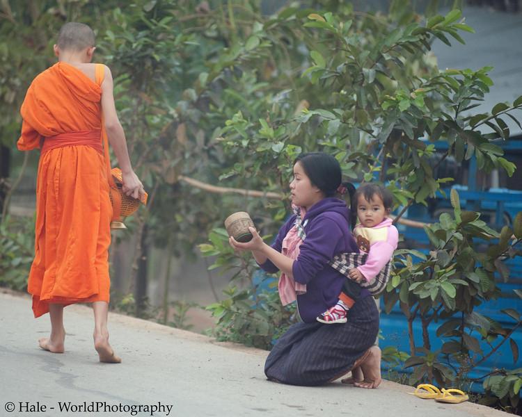 "Ban Khone Villager Making Merit, ""Tum Boon"", By Giving Food to Monks, Ban Khone  Luang Nam Tha Province, Laos"