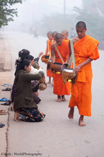 """Ban Khone Villagers Making Merit, """"Tum Boon"""", By Giving Food to the Monks, Ban Khone  Luang Nam Tha Province, Laos"""