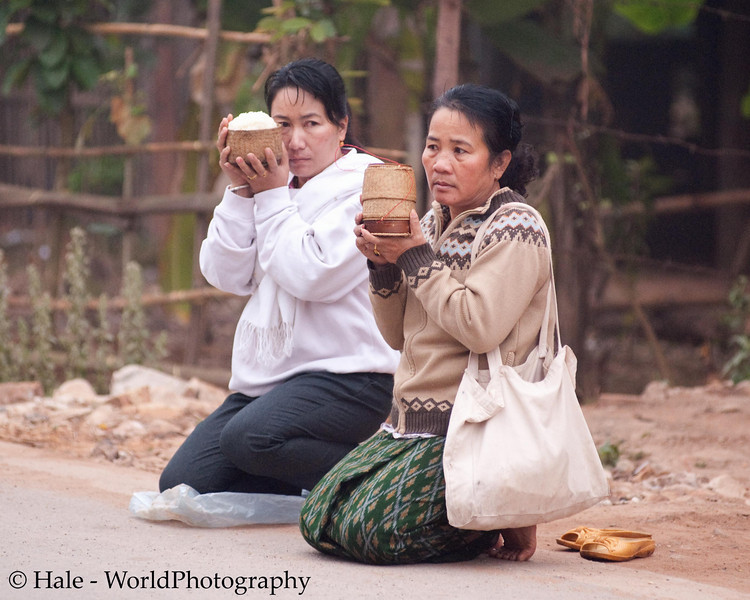 "Ban Khone Villagers Making Merit, ""Tum Boon"", By Giving Sticky Rice to the Monks, Ban Khone  Luang Nam Tha Province, Laos"