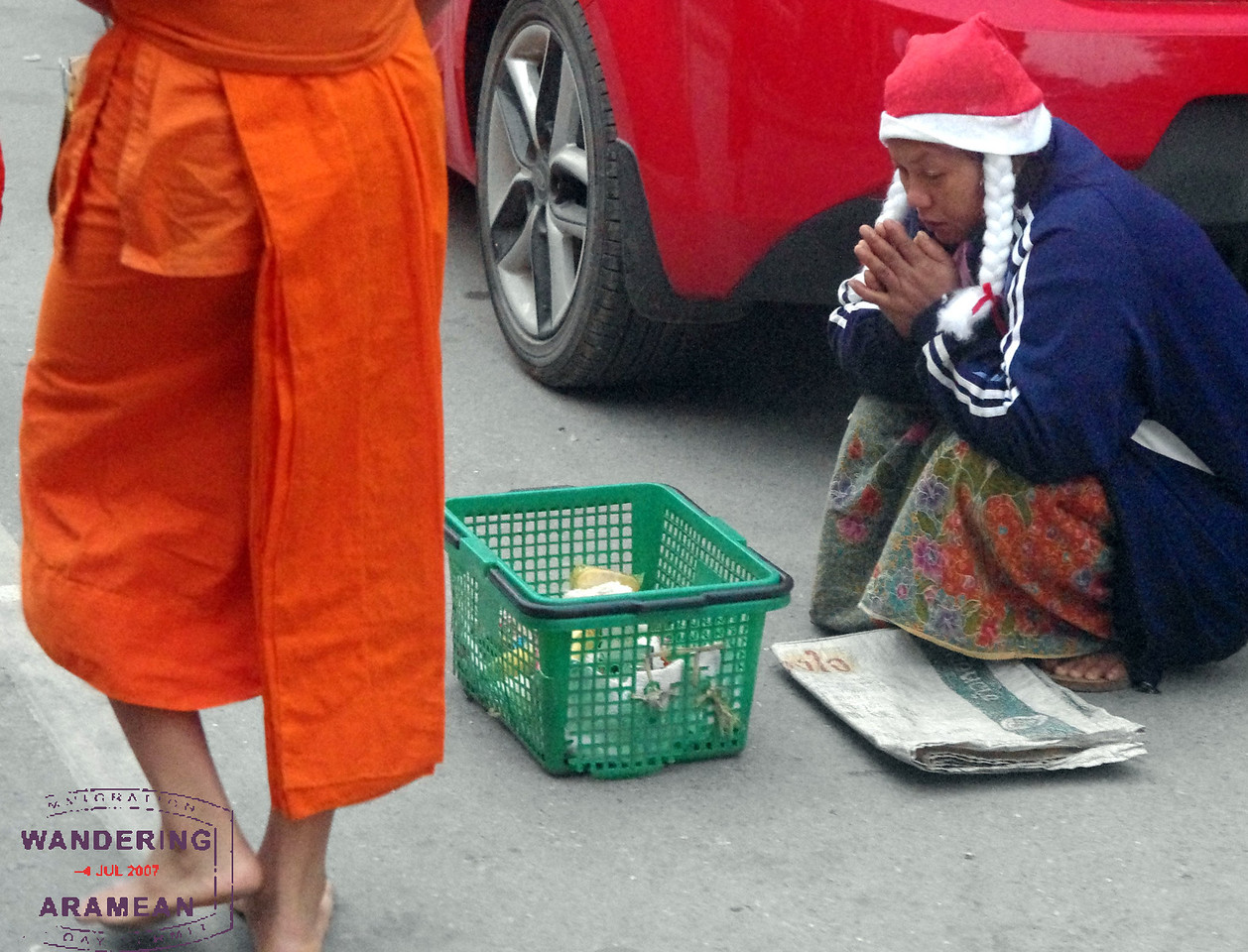 One of several beggars on the route