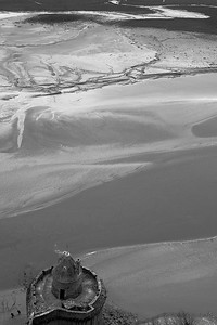 Looking down of Mont Saint Michel into its bay
