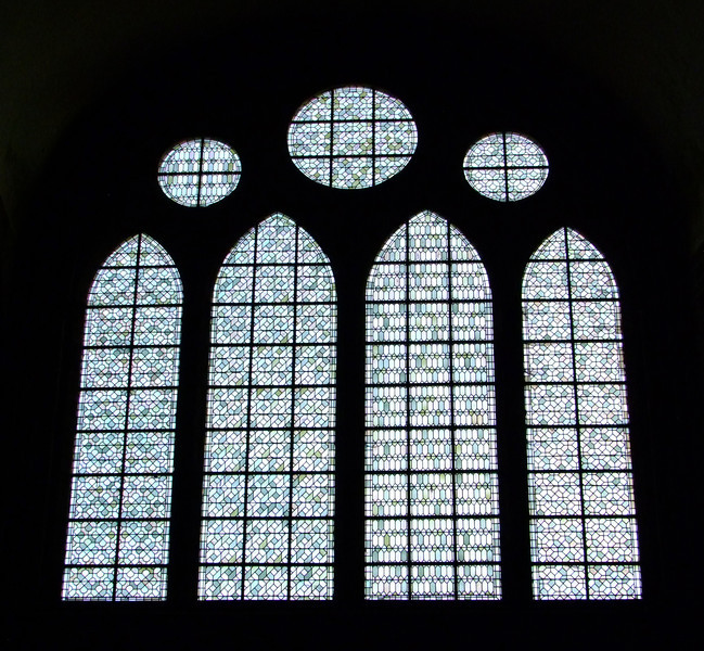 Beautiful ancient statined glass windows within the church