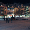 Snow covered square in town.