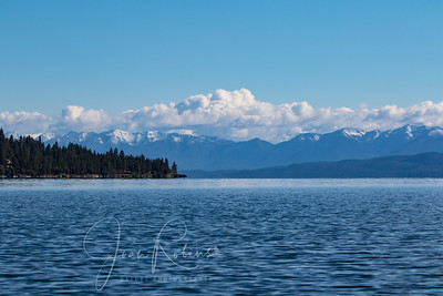 Taken from my kayak on the way home--snow-capped mountains