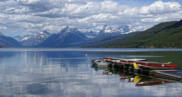 Boats ready for summer at Lake McDonald in Glacier National Park