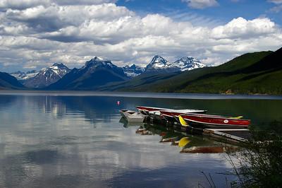 boats waiting for the summer rush on Lake McDonald at Glacier National Park