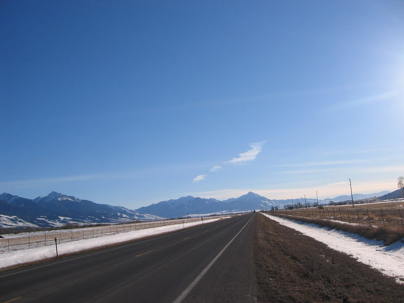 Heading S.E. out of Bozeman, Montana bound for Chico Hot Springs resort. Nice open views.