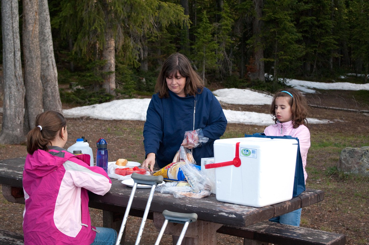 Yellowstone Vacation - Beartooth Pass - Pam, Abigail and Anna prepare our picnic supper.