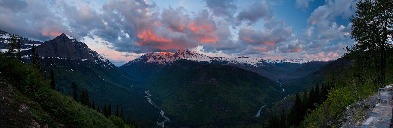 Sunrise Glacier Nat. Park 2010. Second car in line for the first day the Going to the Sun Road was opened for travel all the way over the top. 3 image pano.