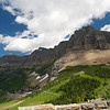View from Logan Pass.  GTTS road lower left, Highline trail paralleling it lower center.