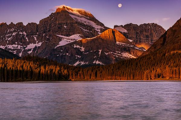 Moonset/Sunrise in Glacier National Park