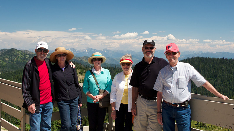 Howard and Ernestine Friedman, Linda Smalley, Judy Elwood, Lee, Jerry on Whitefish Mountain