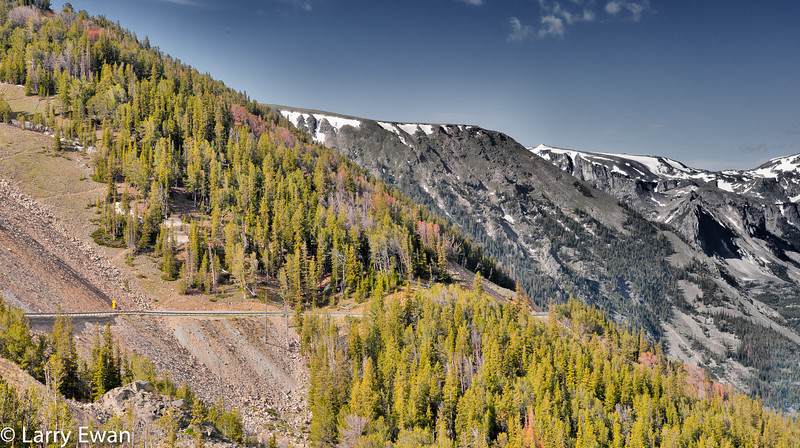 Switch backs on the Beartooth Highway.