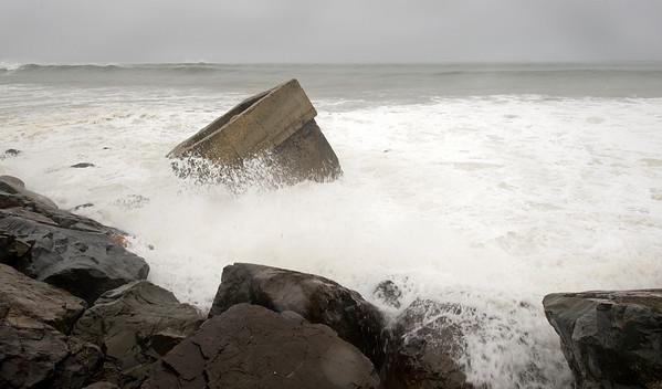 Montauk Point redoubt during Hurricane Earl
