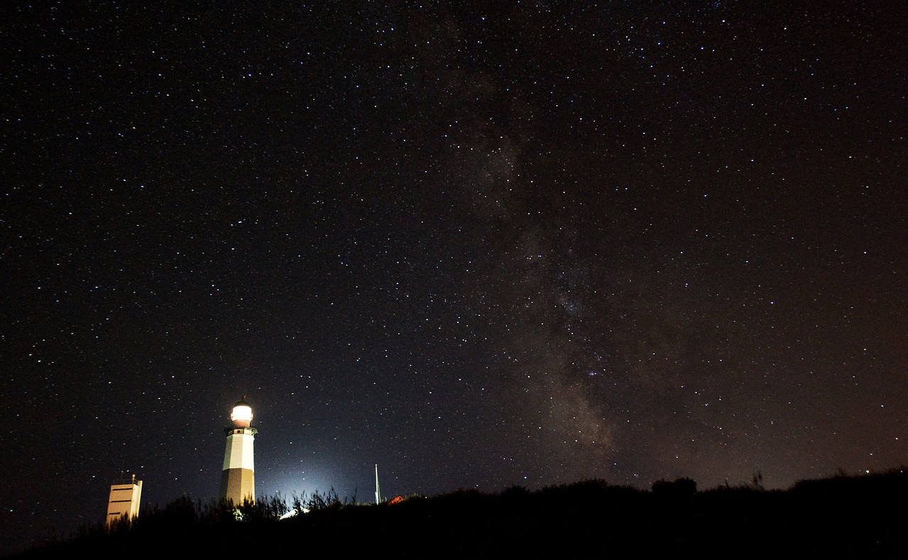 Montauk Lighthouse framed by the Milky Way, Sept 2010.