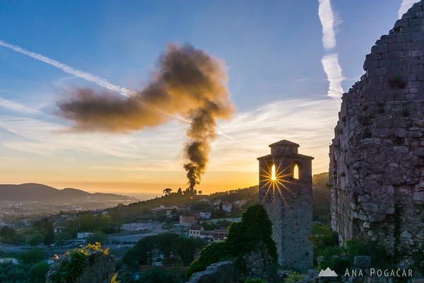 Bar Old Town (Stari Bar) and May 1st bonfire at sunset