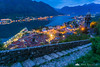 Kotor Old Town from the city walls above at dusk