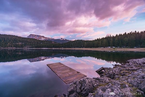 Pink sunrise at Black Lake near Žabljak in the Durmitor NP, Montenegro