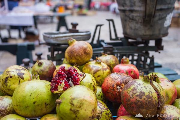At the farmer's market in Dubrovnik