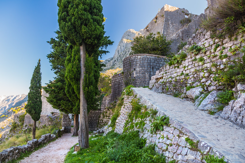 Views from the Kotor city walls in the morning