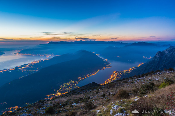 Views of Bay of Kotor from the slopes of Mt. Lovćen at dusk