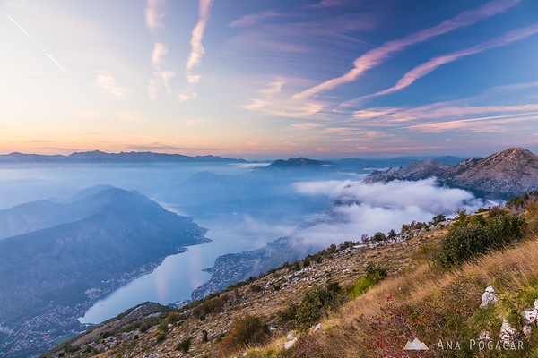 View over Bay of Kotor from the slopes of Mt. Lovćen after sunset