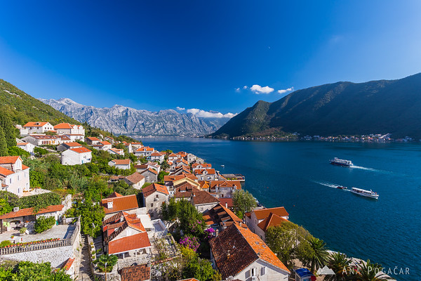 Views from the church steeple in Perast, Bay of Kotor
