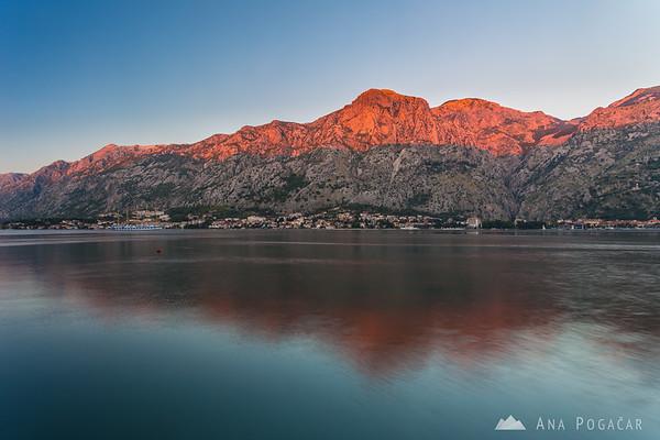 Last sun rays on the mountains above Kotor