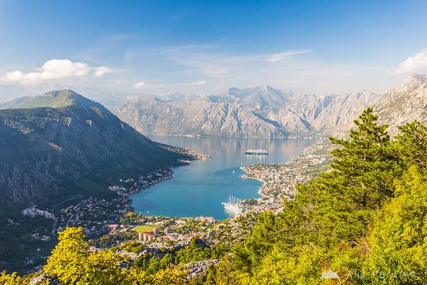 Bay of Kotor from the slopes of Mt. Lovćen