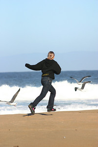 Running with the gulls.