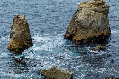 Big Sur Coast - The dark blue water with the rock formation jutting up.