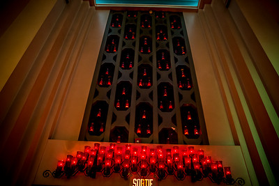 Beautiful votive candles adorn the chapel.