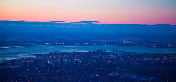 aerial view, of Montreal, early morning in winter time